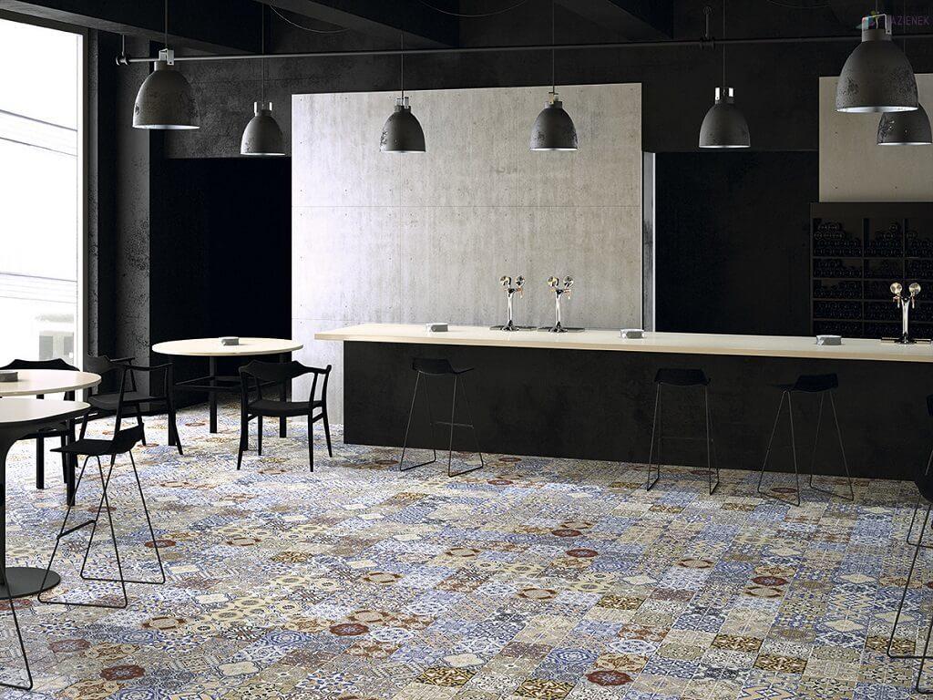 patchworkowe płytki w salonie